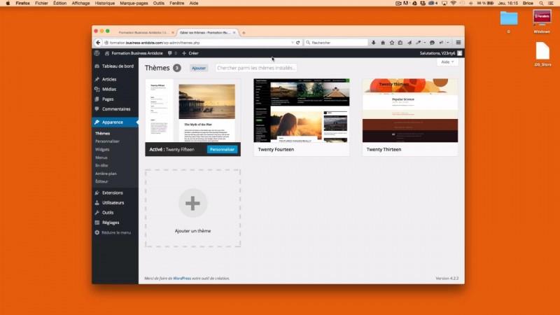 Présentation de l'interface de WordPress
