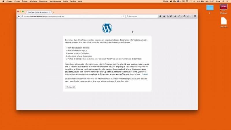 Lancer la procedure d'installation de WordPress